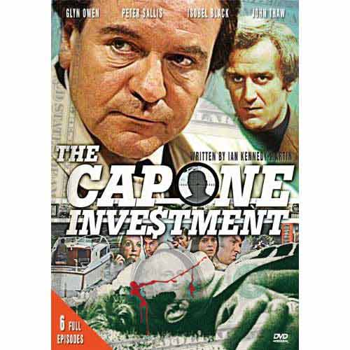 "A Murder Missing"" - All six episodes of this 1974 ITV drama, about the whereabouts of Al Capone's illegal gains during the prohibition era - The Capone Investment.  The movie is set in contemporary England where a brutal murder triggers an investigation revealing that $4m of Capone's original haul may be located there. Following a trail of bodies, the sleuths attempt to recover the money and resolve the mystery.""A Murder Missing - The Capone Investment S1 E1"